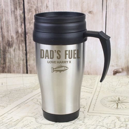 Personalised Fishing Travel Mug - Stainless Steel Coffee Mug Gift Idea